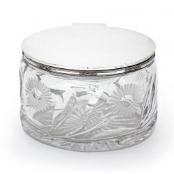 Oval Silver Plate and Cut Glass Box with a Plain Hinged Lid and Floral Border