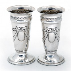 Pair of Late Victorian Trumpet Shaped Silver Vases Chased with Bows and Garlands