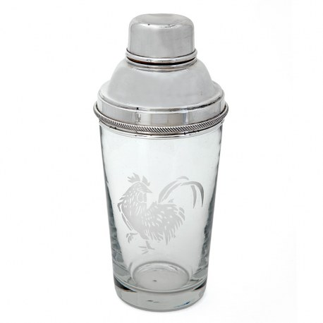 Silver Plated Cocktail Shaker with Etched Cockerel Motif (c.1940)