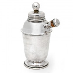 Art Deco Silver Plated Cocktail Shaker with a Ball Handle Pump Action Mixer