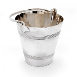 Edwardian Silver Plated Ice Pail Decorated with Two Reeded Bands