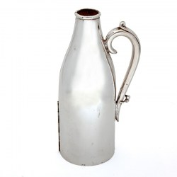 Silver Plated Champagne Bottle Holder Lined with Leather to Keep the Bottle Cool