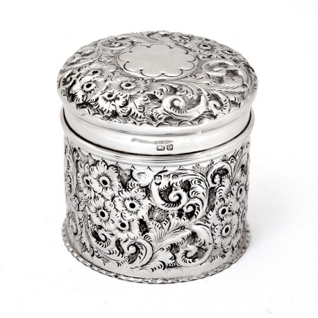 Chester Silver Victorian Dressing Table Jar with a Pull off lid and Gilt Interior