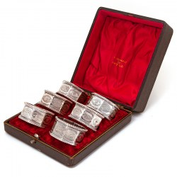 Boxed Set of Six Late Victorian Silver Plated Octagonal Napkin Rings