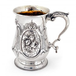 Victorian Baluster Shaped Silver Pint Mug Chased with Rococo Flowers (1864)