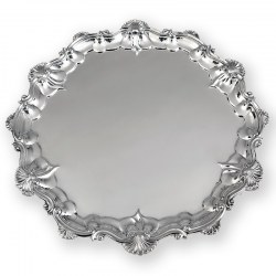 Large Antique Victorian Silver Salver with an Applied Shell and Scroll Border