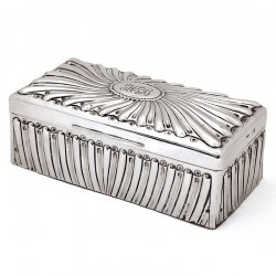 Victorian Silver Table Top Cigar Box with a Chased Scroll Design and Hinged Lid