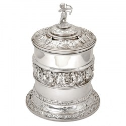 Elkington & Co Antique Silver Plated Barrel Decorated with Cherubs and a Cupid Finial