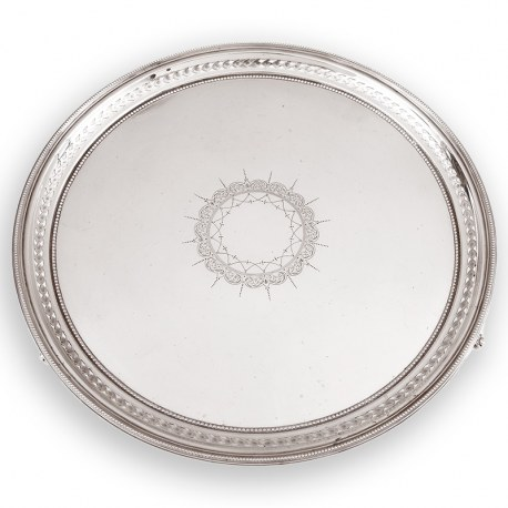 Victorian Silver Salver with a Beaded and Pierced Floral Border (1883)