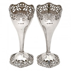 Pair of Trumpet Shaped Silver Vases with Cast Floral Mounts and Scroll Piercing