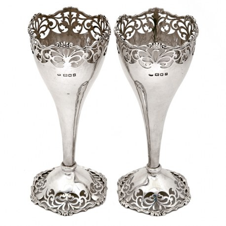Pair of Antique Silver Vases with Cast Floral Mounts and Scroll Piercing