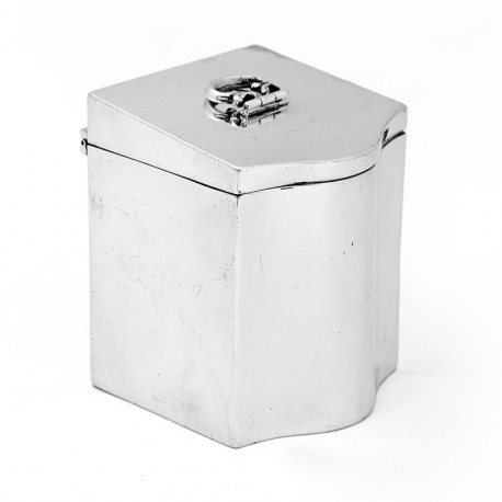 Antique Silver Tea Caddy in the Form of a Georgian Knife Box (1918)