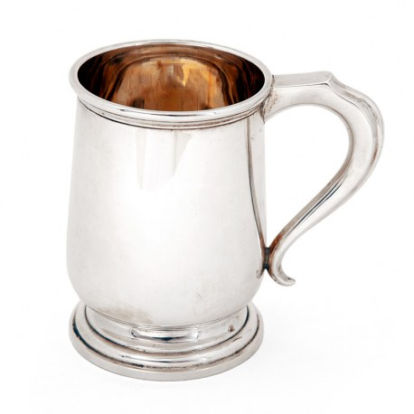 Georgian Style Large Silver Christening Mug with a Plain Body (1919)
