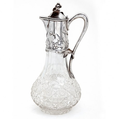 Antique Art Nouveau 800 Grade German Silver Claret Jug (c.1900)