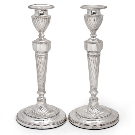 Antique Victorian Silver Candlesticks with a Fluted Spiral Form Stem and Base