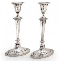 Antique Edwardian Adams Style Silver Candlesticks with Fluted Columns (1906)