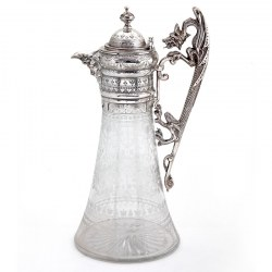 Antique Victorian Silver Plated Claret Jug with a Cast Dragon Shaped Handle