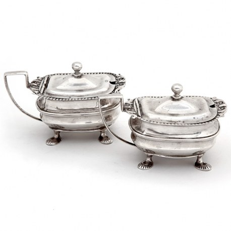 Pair of Antique Edwardian Silver Mustard Pots in a Georgian Style (1911)