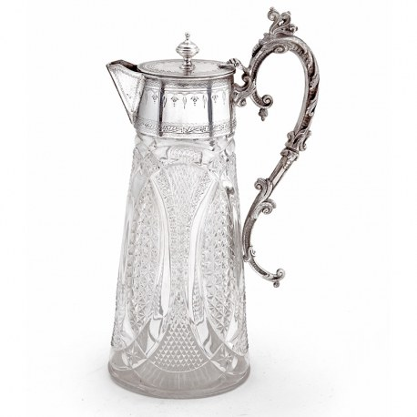 Antique Victorian Silver Plated Claret Jug in an Unusual Oval Shape (c.1890)