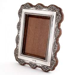 Antique Edwardian Silver Photo Frame with a Pierced Scrolling Floral Border
