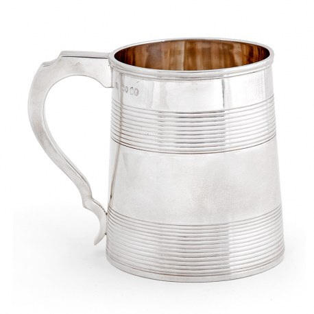 Antique Victorian Silver Pint Mug with an Engraved Lion Family Crest (1865)