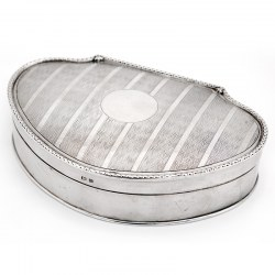 Antique Edwardian Silver Jewellery Box with a Striped Leaf Pattern on the Hinged Lid