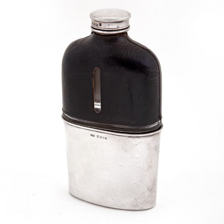 Antique Victorian Silver and Black Leather Bound Hip Flask with a Gilt Lined Cup