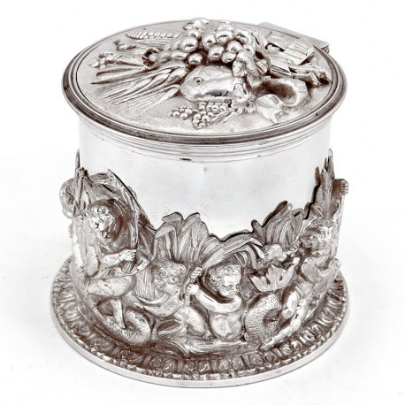 Victorian Silver Plated Electrotype Box with a Band of Cherubs Working in a Wheat Field