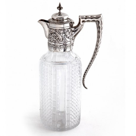 Antique Victorian Silver Claret Jug with a Hinged Domed Cover and a Crimped Scroll Handle