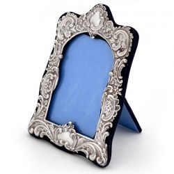 Antique Victorian Silver Frame with a repousse Floral Scroll Decoration and Two Cartouche