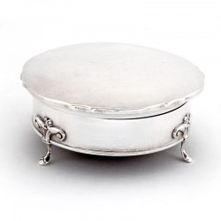 Large Antique Silver Jewellery Box in a Plain Circular Chippendale Form