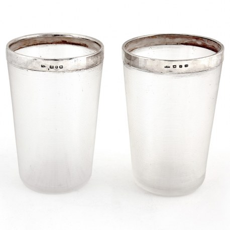 Pair of Antique Victorian Threaded Glass Beakers with Plain Silver Rims