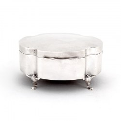 Antique Plain Silver Plated Jewellery Box in a Shaped Oval Form (c.1920)