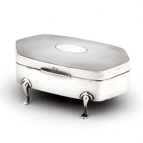 Vintage Silver Body Jewellery Box with an Engine Turned Pattern on the Hinged Lid