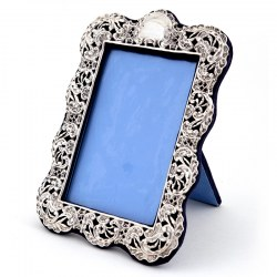 Antique Silver Photo Frame with a Pierced and Repousse Floral and Scroll Border