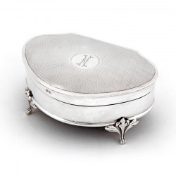 Unusual Shape Jewellery Box with Engine Turning and Engraved M to the Hinged Lid