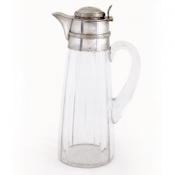Antique French Silver Mounted and Glass Claret Jug with a Hinged Domed Cover Engraved with a Coronet