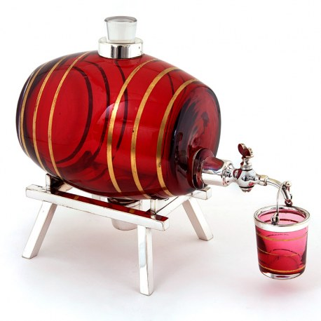 Hukin & Heath Spirit Barrel with a Silver Plated Spigot and Cranberry and Gilt Glass Barrel