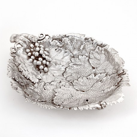 Victorian Cast Silver Plated Dish Decorated with Bunches of Grapes and Vine Leaves