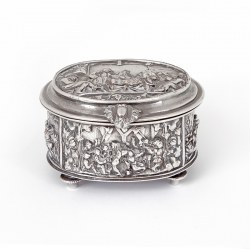 Victorian Silver Plated Jewellery Box Decorated with Repousse Figural Scenes of Hunting and Drinking