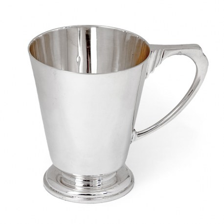 VIntage Art Deco Style Silver Half Pint Mug with a Plain Circular Tapering Body (1934)