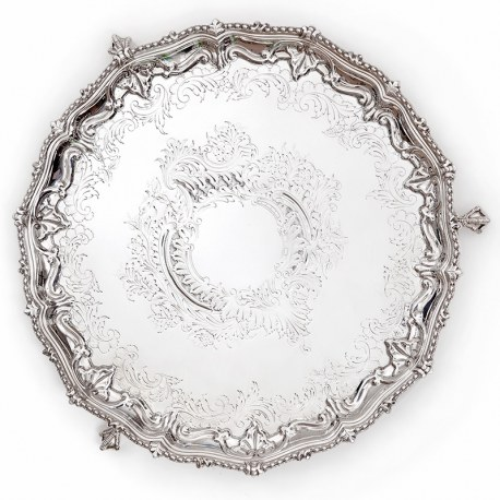 Antique Silver Plated Salver with Floral and Scroll Chasing on Three Claw and Ball Feet