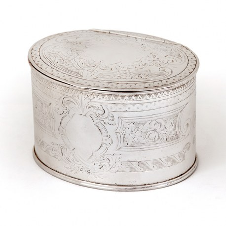 Victorian Oval Silver Plated Tea Caddy with Scroll and Floral Engraving and an Empty Cartouche