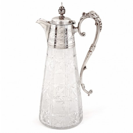 Victorian Silver Plated Claret Jug wih Hand Engraved Glass Body with a Vine Leaf Pattern