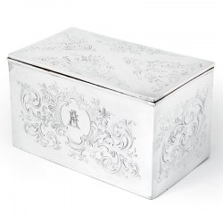 Antique Mappin & Webb Silver Plated Box with Floral and Scroll Engraving (c.1895)