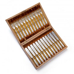 Antique Boxed Set of 24 Silver Plate Fish Eaters with Mother of Pearl Handles