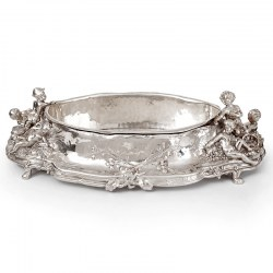 Antique Silver Plated Jardiniere with Scenes of Cherubs Picking Grapes and Cherubs in a Barley Field