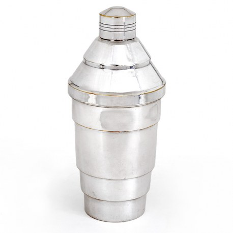 Vintage Art Deco Style Silver Plated Cocktail Shaker with a Stepped Lid and Body