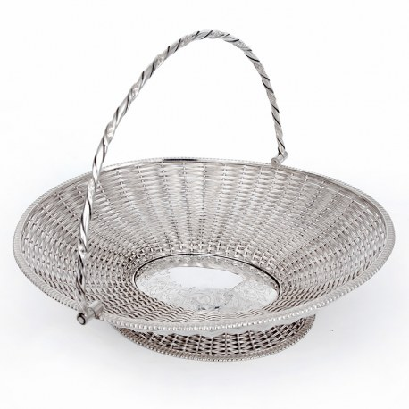Antique Silver Plated Oval Basket Formed From Woven Wire Work (c.1875)