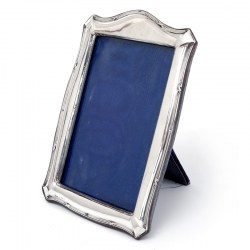 Antique Edwardian Silver Photo Frame with a Ribbon and Reed and Plain Border